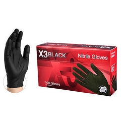 Extra Large-Case of 1000 AMMEX BX3 Black Nitrile Industrial Latex Free Disposable Gloves. BX34