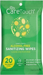 CareTouch Alcohol-Free Wipes -20 Ct Antibacterial Hand Wipes with Vitamin E + Aloe Vera for Babies and Adults 36 per case, low as $1.79 ea