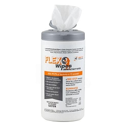 FLEXWIPES Disinfectant Wipes 75ct Canisters Fresh Scent, White, wipes kill 99.9% of bacteria in 15 seconds. EPA Registered. 6 per case