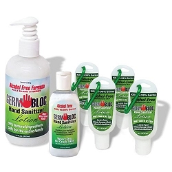 GermBloc Hand Sanitizer 12oz Lotion, non-alcohol based sanitizer, kills germs in 15 seconds. Wholesale. Made in USA