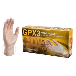 Medium-AMMEX GPX3 Clear Vinyl Food Service Industrial Latex Free Disposable Gloves, Case of 1000, 3 mil, Powder Free, GPX34100