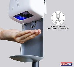 GERMISEPT Automatic Touchless Hand Sanitizer Dispenser with Drip Catcher & Refillable Bottle. Offices, Schools, Home and Commercial Use