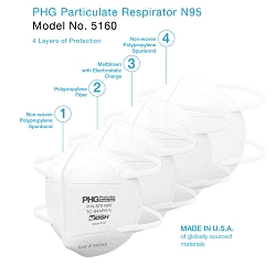 Protective Health Gear N95 Model 5160 Disposable Particulate Respirator, Combines Comfort, Quality and Safety. MADE IN AMERICA