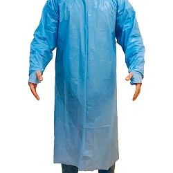 PPE-Level 3. Disposable Isolation Gowns. Tie-on closure, full back, round neck, with thumb loops,long sleeves, color.blue
