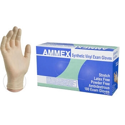 Medium-AMMEX Stretch Synthetic Ivory Vinyl PF Exam Grade Gloves, Case of 1000, 4 mil, Powder Free, Non- Sterile, Smooth, VSPF44100