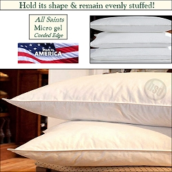HSD-ALL SAINTS-QUEEN/JUMBO Hotel Allergy Shield-Micro Gel Fiber Pillow, Hypo-Allergenic, Corded Edge, Starting at $19.95 ea