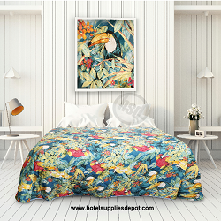 WHOLESALE HOTEL MOTEL Cotton Polyester Bedspread-Paradise Tequila Sunrise Pattern, Full size, as low as $43.70 Each