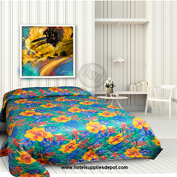 HOTEL - MOTEL Cotton Polyester TROPICAL KIWI Pattern, QUEEN size, low as $56.55 each
