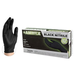 Small-AMMEX Color-BLACK Nitrile Exam Latex Free Disposable Gloves Case of 1000, 4 mil, Powder Free, Non- Sterile, Smooth, ABNPF4
