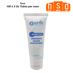 Genic by ECO amenities 2.0 OZ Travel Size Alcohol Free Instant Hand Sanitizers with Aloe. Case of 100
