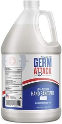 NEW. GermAttack Hand Sanitizer Gel 1/2 Gallon/64 Oz Size with pump. Gel 70% alcohol formula with aloe vera, each
