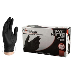 Extra Large Size-GlovePlus Black Nitrile Industrial Latex Free Disposable Gloves (Case of 1000), price per case