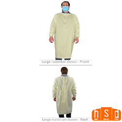 Level 1 Barrier Isolation Gown, Yellow, 60% Cotton/40% Polyester. Machine washable Reusable. Made in Mexico of USA materials