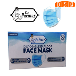 Wholesale Dr. Parmar Disposable 3 PLY Face Mask case of  2000 pcs. Low as $0.237 each