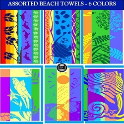 27in x 54in: WHOLESALE BEACH POOL ASSORTED COLOR POOL Towels, 100% COTTON JACQUARD, 6 COLORS (starting at $2.44 each)