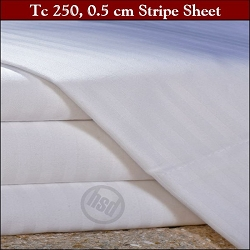 T-250, White, 0.5 Cm Stripe, 114in x 120 in: KING FLAT Hotel Casino Sheets,Tone on Tone, OXFORD SUPER BLEND Mercerized Wrinkle Free, 60/40 Cotton/Poly, (Low as $144.98 dz, 1dz+)