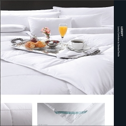 Queen: LUXSOFT Comforter by Standard Textile, Supreme Comfort, T230 65/35 Ticking, Corded piping all around