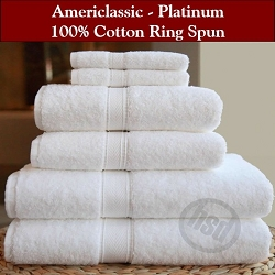 HSD-AMERICLASSIC PLATINUM 100% Ring Spun Cotton, Hand Towels, White 16x30