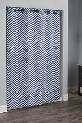 Hookless HBH40CHV77  Blue Gray Blue Chevron print  Shower Curtain , 100% Polyester with matching rings 71
