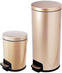 Luxurious Stainless Steel Trash Can Garbage Bin Waste Receptacle  (5L+30L), price, per set of 2