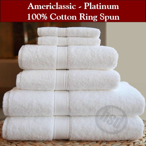HSD-AMERICLASSIC PLATINUM 100% Ring Spun Cotton, Bath Towels, White 27x50