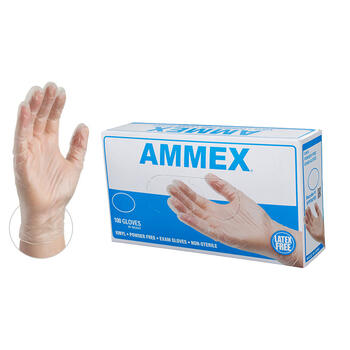 Medium-AMMEX Clear Vinyl Exam Latex Free Disposable Gloves, Case of 1000, 3 mil, Powder Free, low cost medical grade, VPF64100