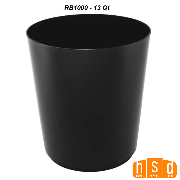 13 Qt. Wastebasket round with tapered bottom, 9.5 in W x 10.75in H, black or white