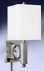 Single Wall Lamp with Electrical Outlet, Brush Steel-18