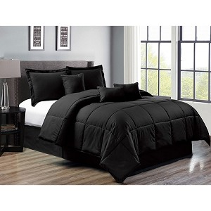 7 Piece Down Alternative Comforter Set Bed in a Bag Bedding  QUEEN Size, (BLACK) Home Quality, Starting at $68.40 each