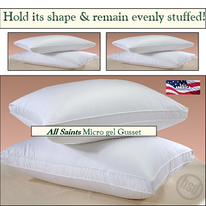 300 TC, HSD-ALL SAINTS-Allergy Shield Hotel Micro Gel Fiber Pillow, Hypo-Allergenic, GUSSET, QUEEN, Starting at $20.95 ea