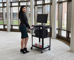 Luxor / H. Wilson #AVJ42KB- Adjustable Height Steel A/V Cart - Pullout Tray, Black