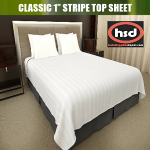 UPSCALE Hotel-Resort CLASSIC 1 inch STRIPE -Tone on Tone White Decorative TOP SHEET, No ironing required, QUEEN 94 x 96