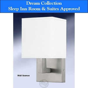 Sleep Inn Room & Suites-Approved Hotel Double Wall SCONCE, 13.5 inch, Brush Steel (starting at $42.75 each)