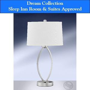 Sleep Inn Room & Suites-Approved Hotel Single Nightstand Lamp with Electrical Rocker Switch, Brush Steel (starting at $82.60 each)