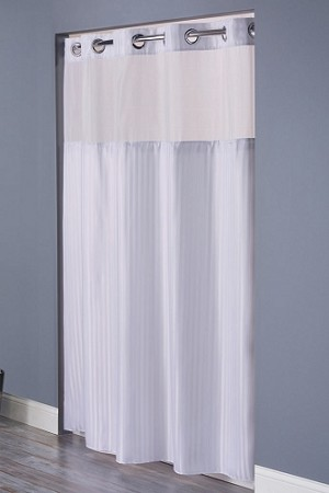 Hookless DOUBLE H PATTERN, 100% Polyester Shower Curtain with It's A Snap!, 71x77