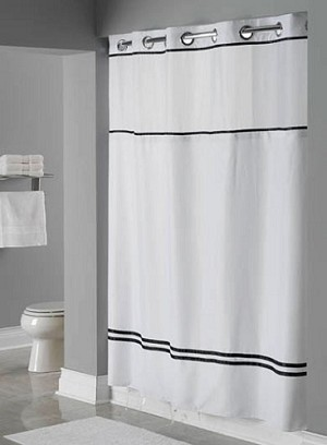 Hookless ESCAPE, Shower Curtain with It's A Snap liner, 100% polyester 71