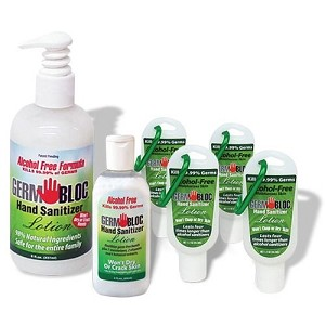 GermBloc Hand Sanitizer 3 oz Lotion, non-alcohol based sanitizer, kills germs in 15 seconds. Wholesale. Made in USA