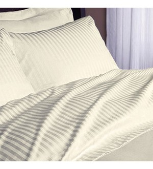 BONE-Hotel SPA & Resort 250 Tc Satin Stripe -1.0 inch, 50/50 Blend, TWIN FITTED SHEETS, 39x75+12