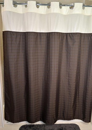 Hookless MILLENIUM Shower Curtain top View and A Snap liner, 100% polyester 72