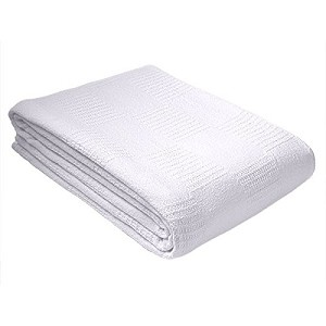 WHITE Hospital/Home Thermal Snag-Free Blanket 100% Cotton - Twin Size 66x90 , Heavier for Warm and durability Price Each