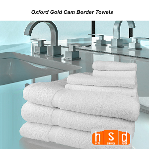 White Oxford gold cam border towel-hsd