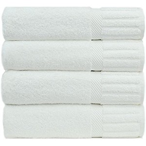 Hotel/Resort SPA-Oxford Signature Bath Towels 27x50 100% Ringspun Cotton w/ Piano Design Dobby Borders & Dobby Hemmed, White (starting at $57.08 Dozen)