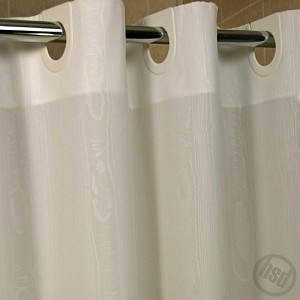 Rujan Peek-A-Boo MOIRE Style Polyester HOTEL Shower Curtain, White, 72x74