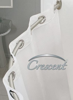 CRESCENT SUITE, 5ft/60 inches, HOTEL CURVED ROUND Shower Rod Kit, BRUSH Polished Finish (starting at $23.40 ea)