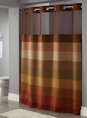 STRATUS HOOKLESS®  Brown-HOTEL Polyester Shower curtain with Snap liner, 71x77