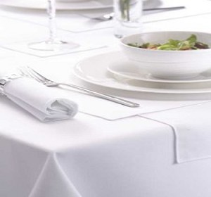 White Table Cloths, 100% Spun Polyester, Size: 64